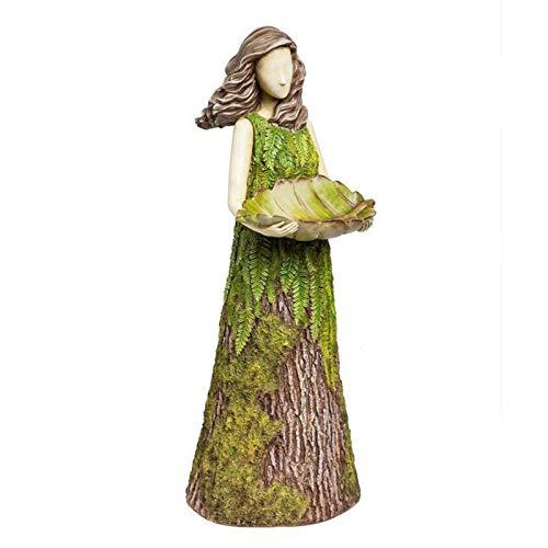 Estatuas al aire libre – Estatua de hada de helecho con comedero de aves figuras de jardín, decoración de jardín, adornos de escultura, decoración de patio