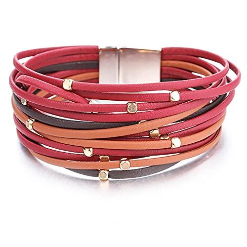 HMANE Pulseras de Cuero con Cuentas de Metal para Mujer, a la Moda, Tiras Delgadas, Pulsera de Envoltura Ancha Multicapa, joyería de 19 CM
