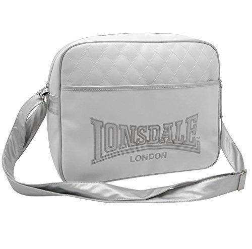 Lonsdale Borsa A Tracolla In Stile Messaggero - bianco/argento, Taglia unica, poliestere