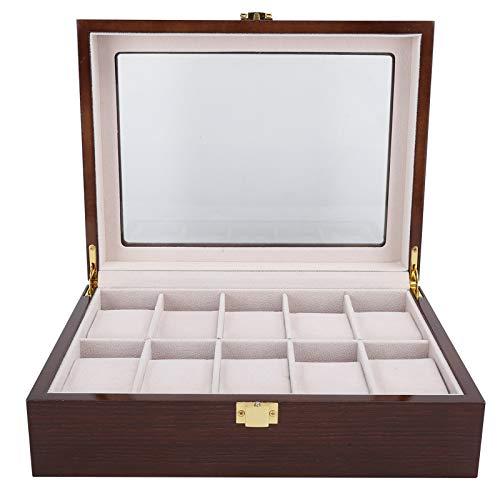Pssopp Caja de Reloj organizadora de Reloj de Lujo de 10 Ranuras para Hombres y Mujeres, Vitrina de Reloj con cajón, Tapa de Vidrio, Negro para Almacenamiento de exhibición, Soporte de Reloj