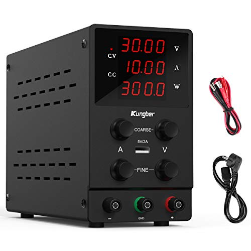 Kungber 安定化電源 可変直流安定化電源 スイッチング電源 DC 直流電源 0-30V 0-10A 高精度 4桁電圧 電流表...