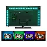 Sunnest TV Backlight Light Kit, 6.56FT/2M 5V USB LED Lights Strips 5050 RGB Bias Lighting with Remote for HDTV Desktop PC Monitor Home Theater Kitchen Cabinets, Multi Color (40-60in)