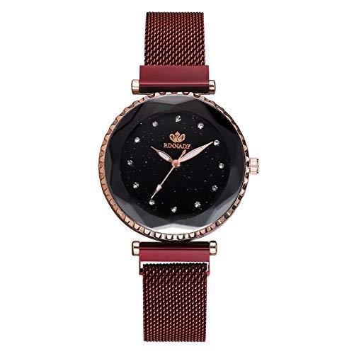 TYYW Reloj De Pulsera De Cuarzo con Banda De Aleación De Moda, Reloj Informal Femenino con Esfera Redonda, Rojo