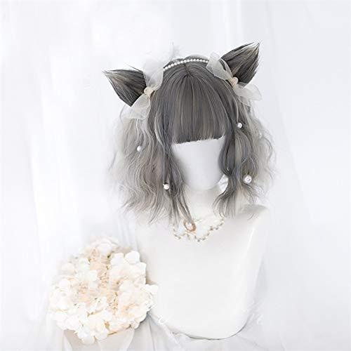 Frauen Haar Perücke 30 / 65cm Lolita Blonde Gemischte Grau Ombre Kurz Lang Wellig Bob Bangs Katze Earshot Halloween Perücke Haarstücke (Color : Wig Cat Ears, Stretched Length : 12inches)