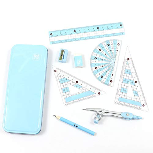 MeetUs 8 Pcs Compass/Math Set for Students with Shatterproof Storage Box, Geometry Set for School, Includes Ruler, Protractor, Compass, Pencil,Pencil Sharpener and Eraser,etc. Perfect Gift