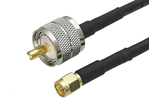YINGGEXU 1 unids RG58 UHF PL259 Enchufe Masculino a SMA Conector de...