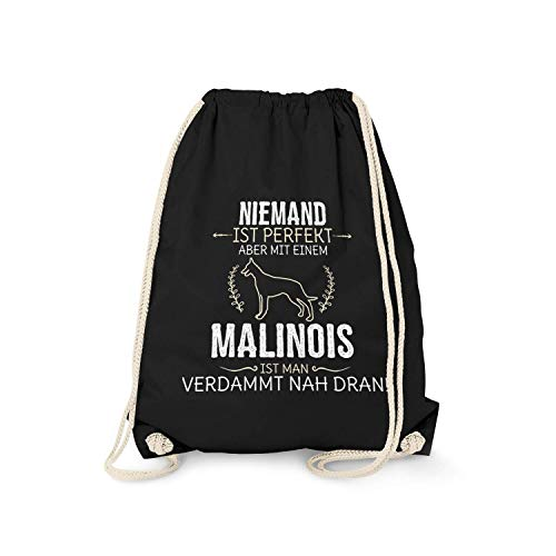 Fashionalarm Turnbeutel - Niemand ist perfekt - Malinois | Fun Rucksack mit Spruch Geburtstag Geschenk Idee Hundebesitzer Hundefreund Rasse Hund, Farbe:schwarz