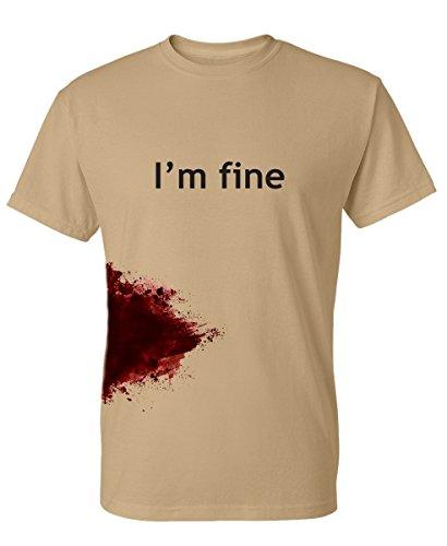 I'm Fine Graphic Novelty Sarcastic Zombie Funny T Shirt 2XL Tan -  Feelin Good Tees, NCYC22550895