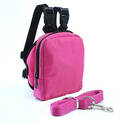 Fuli Mini Dog Backpack Pocket Bag Carrier Harness with Lead Leash for Training Hiking Walking Travel (M, Pink)