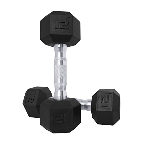 CAP Barbell SDPP-024 Color Coated Hex Dumbbell, Black, 12 pound, Pair