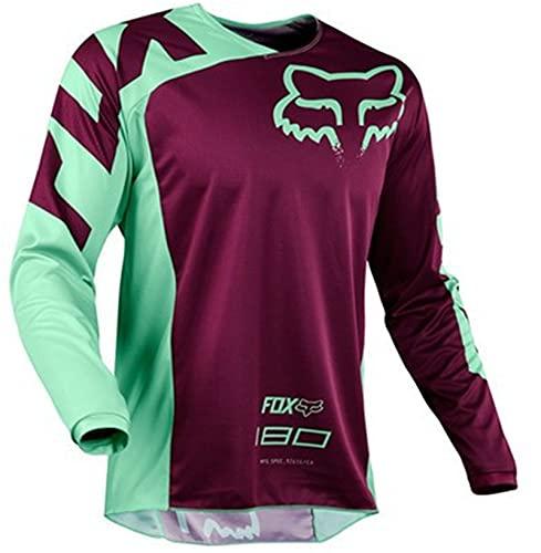 Maglia Mtb Manica Lunga Uomo,Mountain Bike MTB Camicie Offroad Moto Jersey Motocross Abbigliamento Sportivo Abbigliamento (Viola,M)