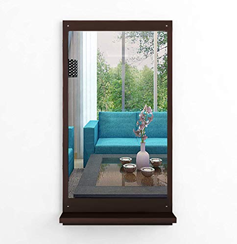 Dime Store Wall Mirror with Shelf for Living Room Bedroom Dressing Mirror for Wall Decor (Classic, Brown)