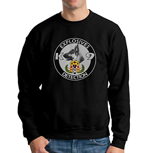 Explosives Detection K9 Mens Woman Fashion Hoodie Movement Round Neck Sweater Fleeces Black