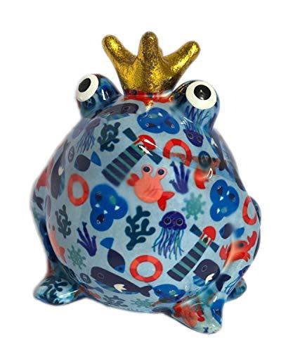 Pomme Pidou Spardose Frosch Froschkönig blau Leuchtturm 15x17 cm Sparbüchse Geldgeschenk