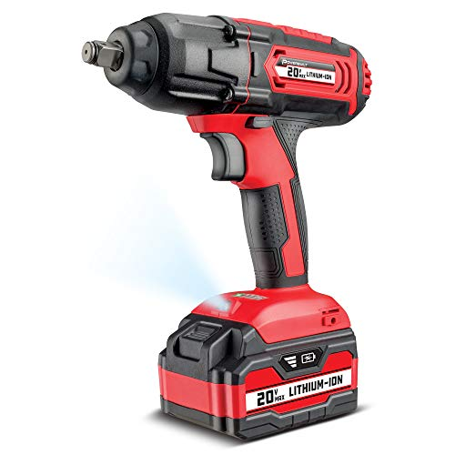 Powerbuilt 20V Cordless 1/2' Impact Wrench, Variable Speed, 350 ft-lb. Max Torque, 3,000 IPM, 4 Impact Settings, 4.0 Ah...