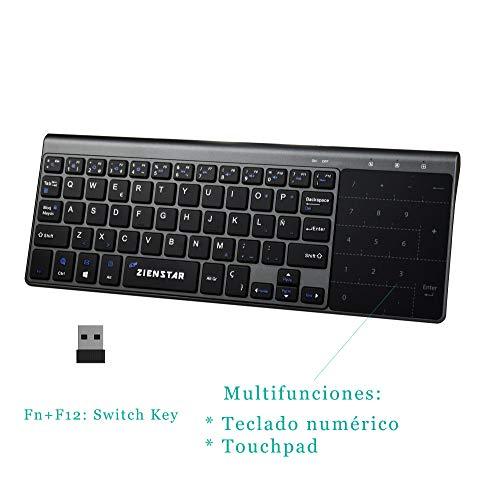 Zienstar-2.4Ghz Mini Teclado Inalámbrico con Touchpad y Teclado Numérico, Receptor USB para Smart TV, Android TV Box, HTPC, IPTV, XBOX360, PS3, PC, etc- Español