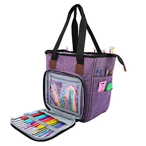 Caredy Bolsa de Ovillos, Bolsa de Tejer, Organizador para Lanas Bolso de Crochet Mochila Bolsa de Almacenamiento de ovillos para Proyecto de Transporte, Agujas de Tejer, Ganchos de Ganchillo(Purple)