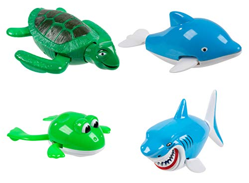 Juvale Wind Up Bath Toys - 4-Pack Assorted Water Animal Toys Set for Kids, Swimming Tortoise, Shark, Dolphin, and Frog for Bathtub, Pool Toys, Birthday Gifts for Boys and Girls, Party Favors