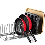 BTH 8+ Expandable Pan, Pot and Bakeware Organizer Rack: Total 8 Adjustable Compartments, 2 Racks or 1 Expandable Rack, Kitchen Cabinet Countertop Baking sheet Holder (LARGE 8+ RACK)