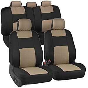 BDK PolyPro Car Seat Covers Full Set in Beige on Black – Front and Rear Split Bench Seat Protectors, Easy Install with Two-Tone Accent, Universal Fit Interior Accessories for Auto Truck Van SUV