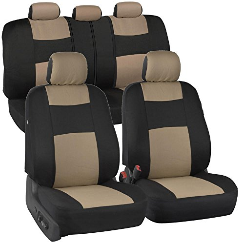 BDK OS-309-BG Beige On Black PolyPro Covers Accents, Set – Easy to Install Front and Rear Bench Seat Protectors with Full Coverage for Car Truck Van and SUV