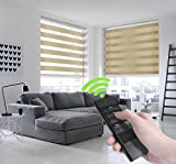 Keego Motorized Window Blinds Zebra Blinds, Free-Stop Cordless Horizontal Window Blind, Day and Night Dual Layer Roller Shades for Smart Home - Remote Control Battery Rechargeable - Sand 30'W x 72'H