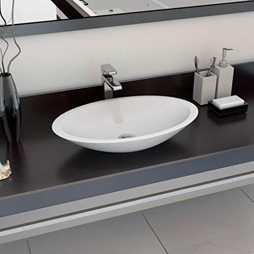 CASTLOVE Waschbecken 59,3 x 35,1 x 10,7 cm Mineralguss/Marmorguss Weiß