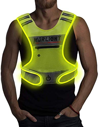 LED Reflective Vest Running Gear with Pouch, USB Charging & Ultralight Reflective Safety Vest   Large Pocket & Adjustable Waist for Night Running Jogging Cycling - 3 LED Glowing Modes Reflector Strips