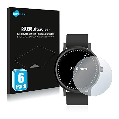Savvies 6X Schutzfolie kompatibel mit Armbanduhren (Kreisrund, Durchmesser: 31 mm) Displayschutz-Folie Ultra-transparent
