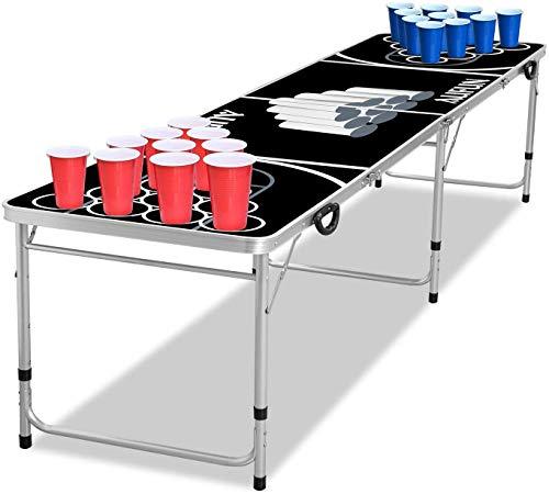 UISEBRT Juego de mesa Beer Pong – incluye 5 bolas y 100 vasos (50 rojos y 50 azules), plegable, de aluminio, altura ajustable, para fiestas y juegos, color negro