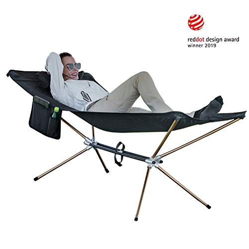 KingCamp Free Standing Hammock with Aluminum Stand, Lighweight Portable Folding Camping Hammock Bed Cot with Pocket for Beach, Patio, Garden, Yard,High Off Ground | Red Dot Design Award 2019 Winner