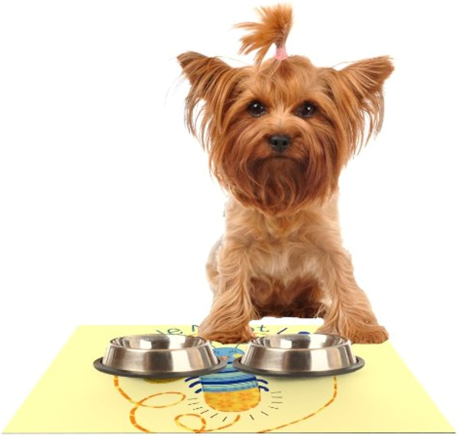 KESS InHouse Jane Smith Little Night Bug Yellow bluee Feeding Mat for Pet Bowl, 24 by 15Inch