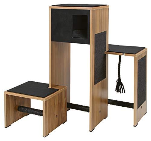 Kerbl 81520 Kratzmöbel, Kratzbaum Ambiente dunkler Holzdekor, 96 x 87 x 100 cm, schwarz