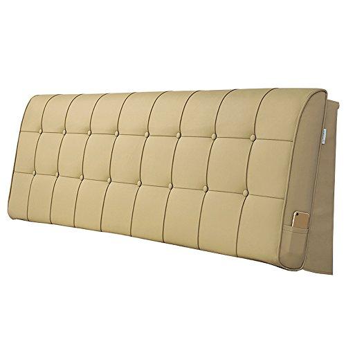 YUN-X Kopfteil Kopfkissen Bedside Rücken Kunstleder Kissenbezug Lesepause Kissen Bett große weiche Tasche 5 Größe (Farbe : Khaki, größe : 180 * 10 * 60cm)
