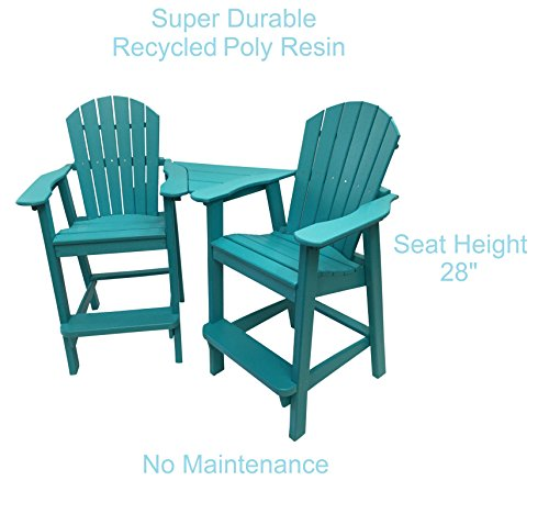 Phat Tommy Recycled Poly Resin Balcony Chair Settee - Durable and Adirondack Patio Furniture, Teal