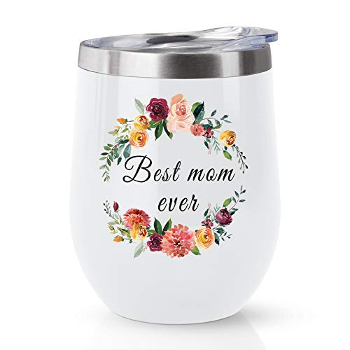 Joyloce Best Mom Ever Wreath Wine Tumbler Coffee Mug Cup Wine Glass Stemless Tumblers with Lid Stainless Steel Insulated Vacuum Mother's Day Birthday Gift for Mom 12 oz