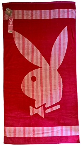 Playboy 405245Playa Classic Stripe–Toalla de Playa (algodón 180x 100x 1cm), Color Rosa