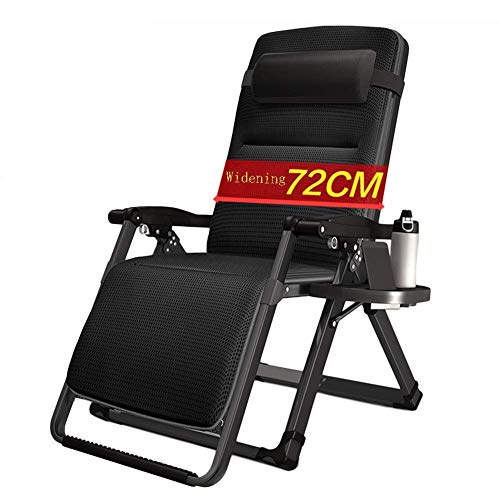 WGFGXQ Oversize Patio Zero Gravity Lounge Chair for Heavy Duty People, Garden Reclining with Wide Armrest and Cup Holder, Support 200kg (Color : with Cushions)