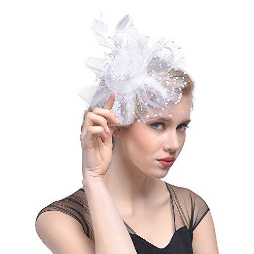 Likecrazy Damen Fascinator Hüte mit Feder Mädchen und Frauen 20er 50er Jahre Hochzeit Kopfschmuck Haarschmuck Cocktail Tea Party Kirche Accessoire Netz Mütze … (One size, 02-Weiß)