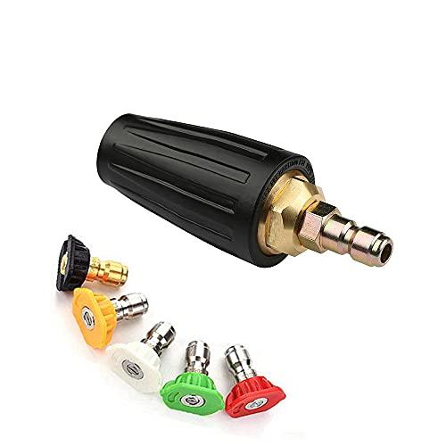 Boquilla turbo giratoria de Stone Banks, boquilla turbo giratoria de alta presión de 3000PSI (enchufe de conexión rápida de 1/4 pulgada) con 5 puntas de boquilla de pulverización