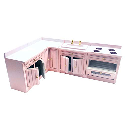 ZSMD - Armario de cocina de madera de abedul en miniatura a mano 1/12 para accesorios de muebles de casa de muñecas