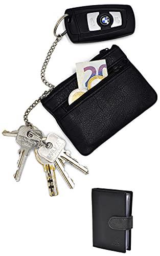 Funda de piel para llaves de hombre y mujer con 2 cadenas para llaves, llavero con compartimento para dinero, estuche para llaves de coche, color negro