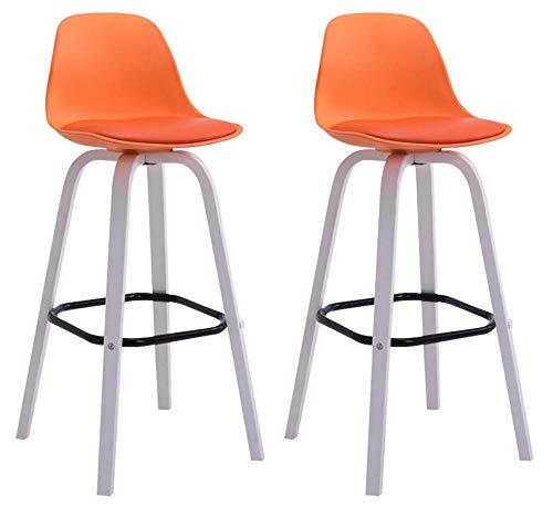 CLP 2er Set Barhocker Avika Mit Kunststoff-Sitzschale Und Sitzpolster Aus Kunstleder I 2 x Barstuhl Mit Holzgestell, Farbe:orange, Gestell Farbe:Weiß