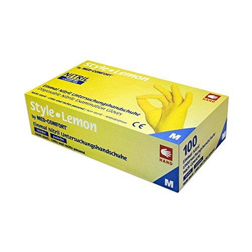Med - Guanti in nitrile, senza talcatura, 100 pezzi, misure assortite, colore: giallo
