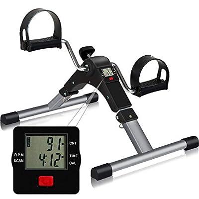 Folding Pedal Exerciser, CNTLIFE Portable Stationary Mini Exercise Bike Leg Arm Trainer for Elderly Men Women, Adjustable Resistance Pedal Exerciser with Electronic Display
