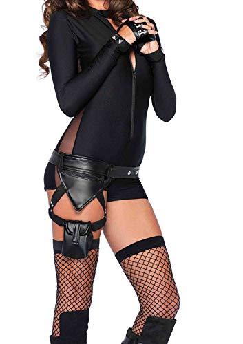 Leg Avenue Accessorie's Garter Leg Strap and Pockets, Police Utility Belt Black, One Size