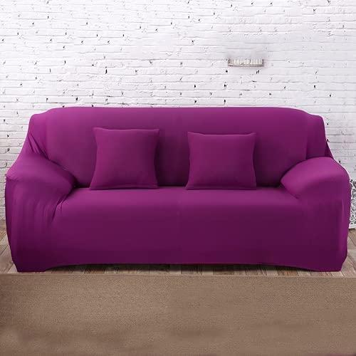 FENFANGAN Sofaüberwurf Für Ledersofa, Universal Elastischer Sofabezug,All-Inclusive, Für Wohnzimmer Sofa Protector, Produzieren Wirtschaftliche Und Schöne Effekte (Candy Violet,1-Seater 90-130cm)