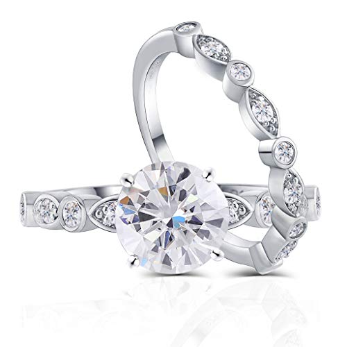 DovEggs Platinum Plated Silver Center 1.5ct 7.5mm G-H-I Color Heart Arrows Cut Moissanite Engagement Wedding Ring Bridal Set 2 Pieces (7)
