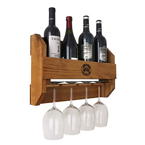 BestLoft.de Original Louis Martel® Weinregal Crystal aus Eiche Flaschen und Gläser Flaschenregal Flaschenständer Weinschrank Flaschenhalter massiv (4-5 Flaschen+4 Gläser)