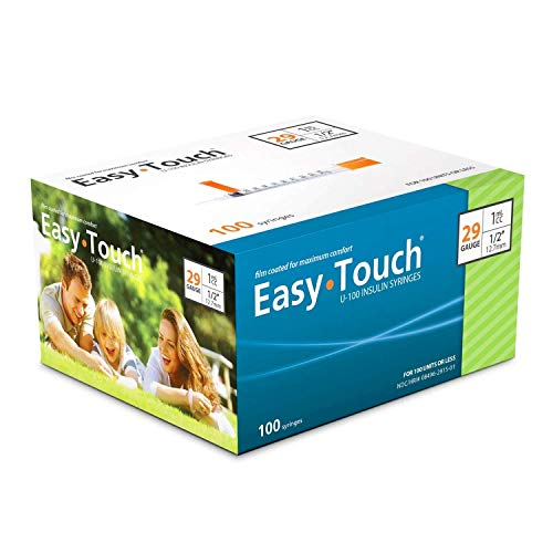 "EasyTouch® U-100-29G, Insulin Syringes, 1cc/mL, 1/2"" (Box of 100) Mississippi"